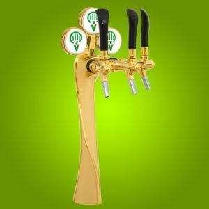 Draught Beer Tower 'Lucky' - Chrome 3 way (NFlood)inclTapAndMed