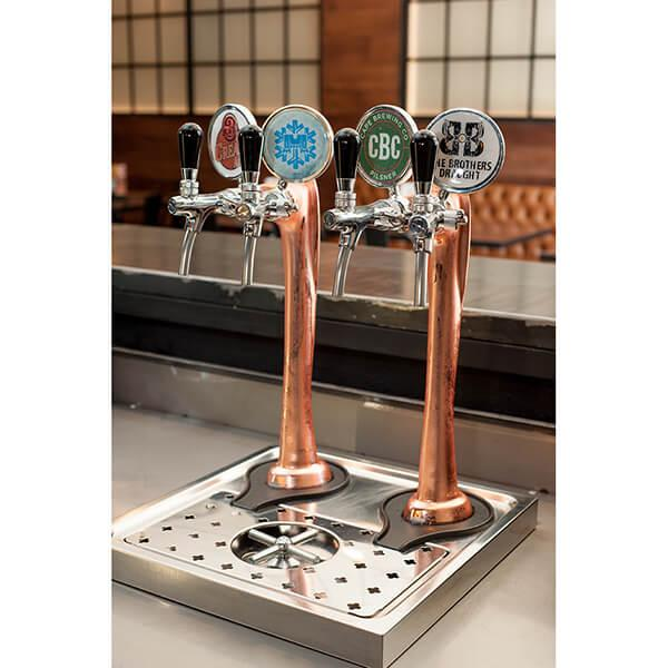 Draught Beer Tower 'Flute' - 2 way - Copper - Flooded