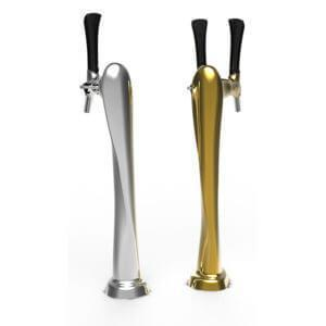 Draught Beer Tower 'Flute' - 2 way - Chrome - Flooded